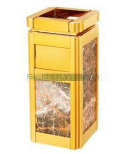 thùng rác inox mạ vàng đá hoa cương