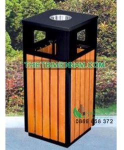 thùng rác ngoài trời có gạt tàn