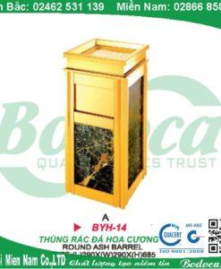 Thùng rác inox mạ vàng đá hoa cương YH-14A
