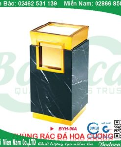 Thùng rác đá hoa cương đen mạ vàng BYH-96A